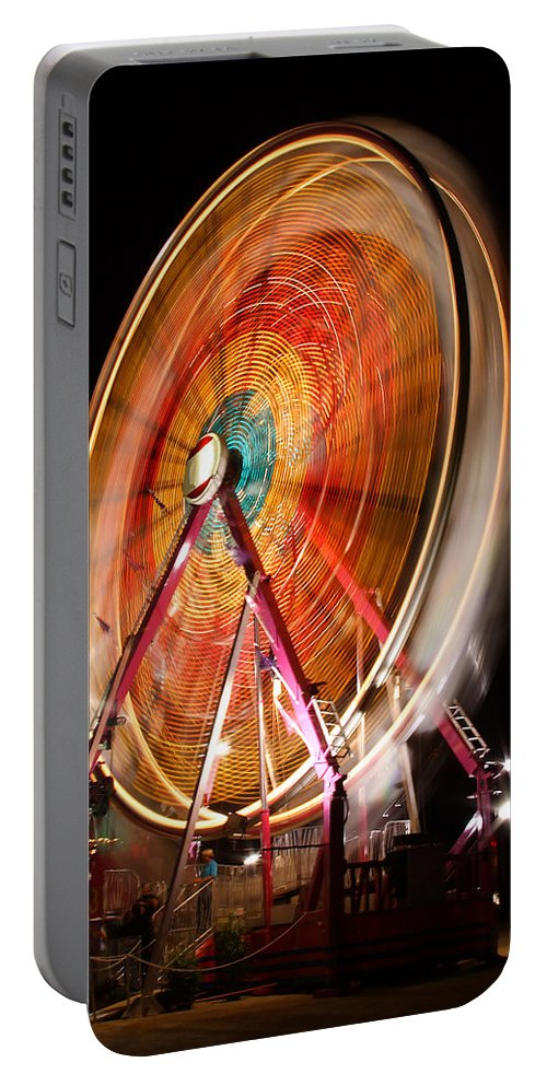 Olmsted Portable Battery Charger featuring the photograph Night Ferris Wheel 3 by John Brueske