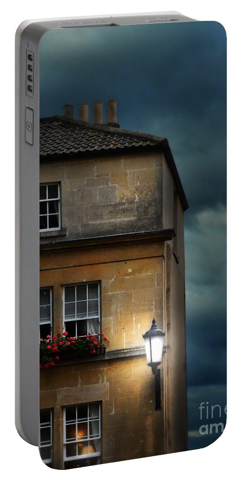 Architecture Portable Battery Charger featuring the photograph Night Flats by Jill Battaglia