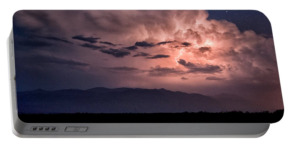 Clouds Portable Battery Charger featuring the photograph Night Lightning by Cat Connor