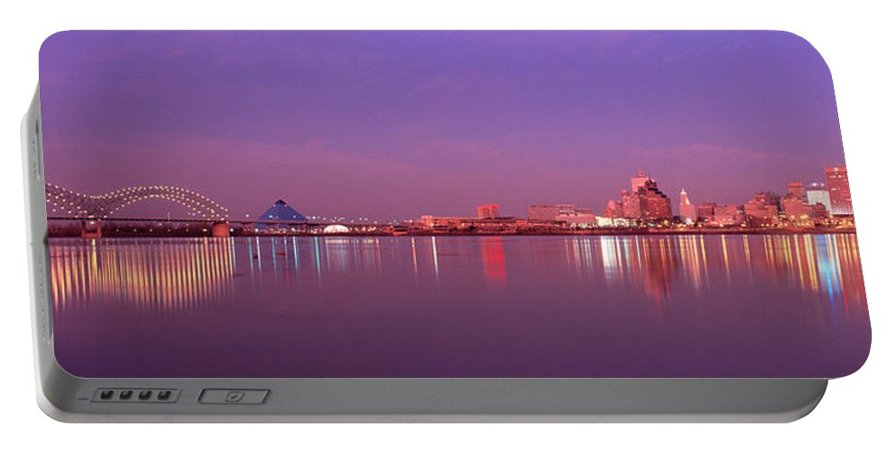 Photography Portable Battery Charger featuring the photograph Night Memphis Tn by Panoramic Images
