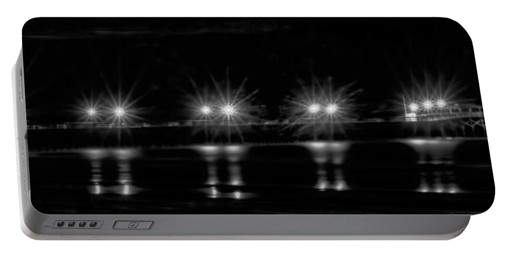 Night Portable Battery Charger featuring the photograph Night Pier Black And White by Photos By Cassandra