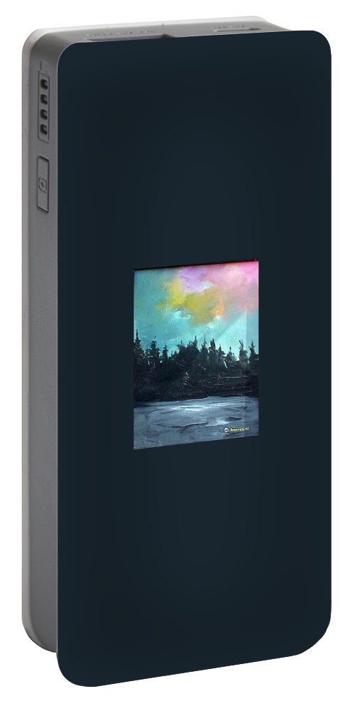 Landscape Portable Battery Charger featuring the painting Night River by Sergey Bezhinets