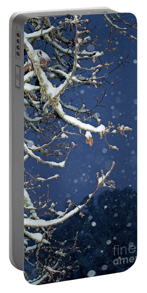 Snow Portable Battery Charger featuring the photograph Night Snow by Gwyn Newcombe