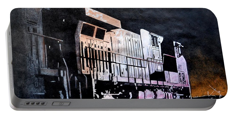 Night Portable Battery Charger featuring the drawing Night Train by Paul Kuras