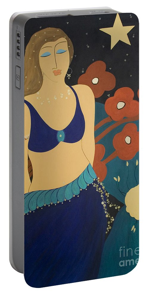 #stars Portable Battery Charger featuring the painting Nightfall by Jacquelinemari