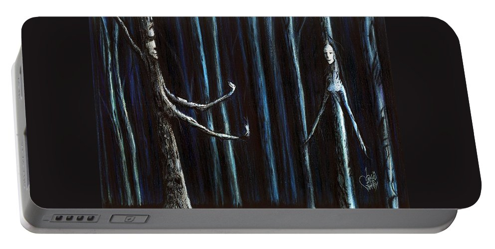 Trees Portable Battery Charger featuring the drawing Nightfall Secret by Danielle R T Haney