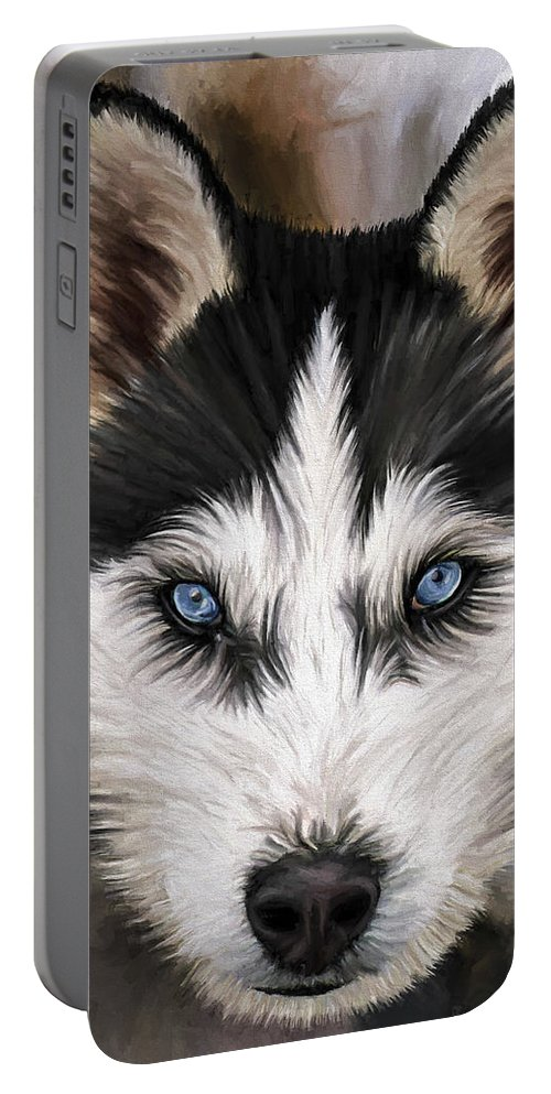 Dog Art Portable Battery Charger featuring the painting Nikki by David Wagner