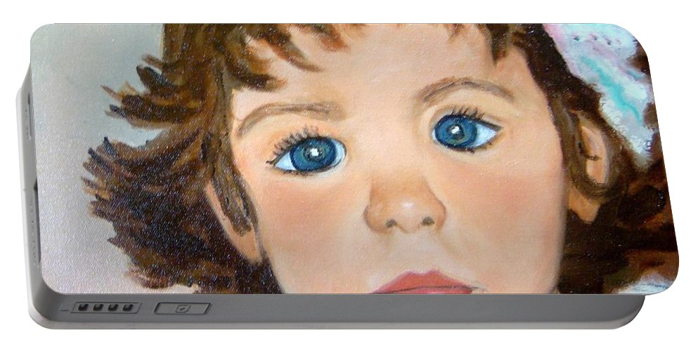 Portrait Portable Battery Charger featuring the painting Nikki by Laurie Morgan