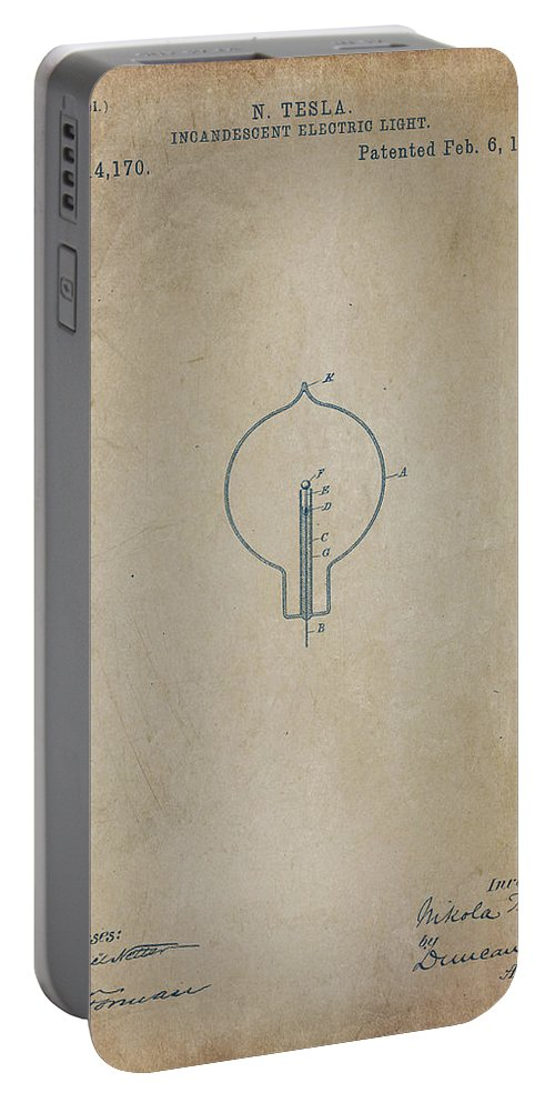 Wright Portable Battery Charger featuring the digital art Nikola Tesla's Incandescent Electric Light Patent 1894 Aged by Paulette B Wright