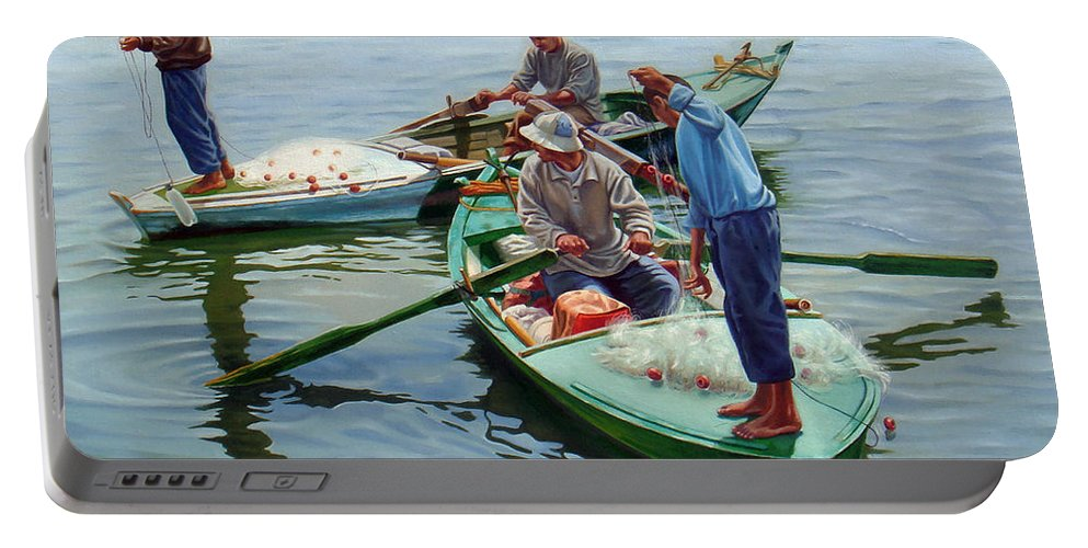 Realism Portable Battery Charger featuring the painting Nile River Fishermen by Ahmed Bayomi