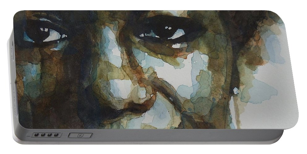 Nina Simone Portable Battery Charger featuring the painting Nina Simone Ain't Got No by Paul Lovering