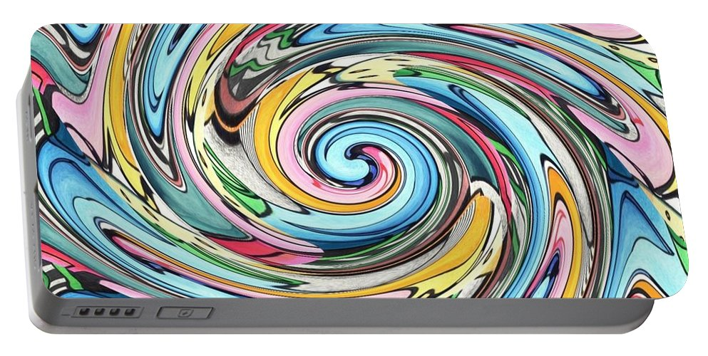 Swirl Portable Battery Charger featuring the digital art Nine Into One by Helena Tiainen