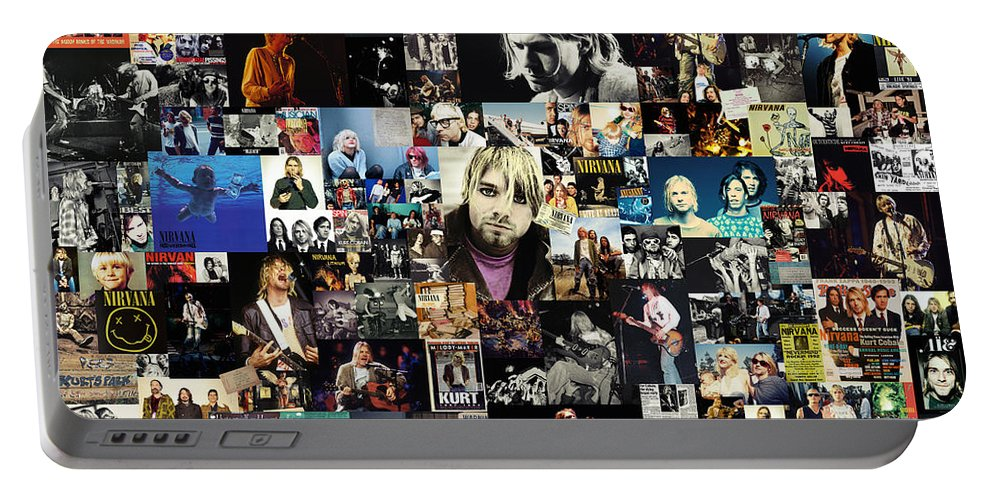 Nirvana Portable Battery Charger featuring the digital art Nirvana collage by Zapista OU
