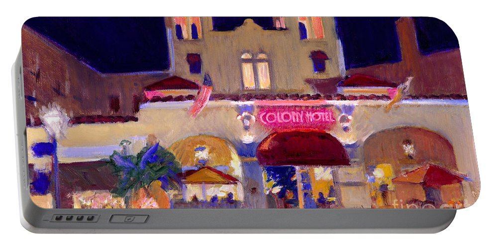 Delray Beach Portable Battery Charger featuring the painting Nite At The Colony by Candace Lovely