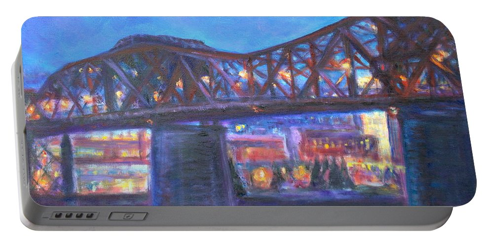 Sky Portable Battery Charger featuring the painting City At Night Downtown Evening Scene Original Contemporary Painting For Sale by Quin Sweetman