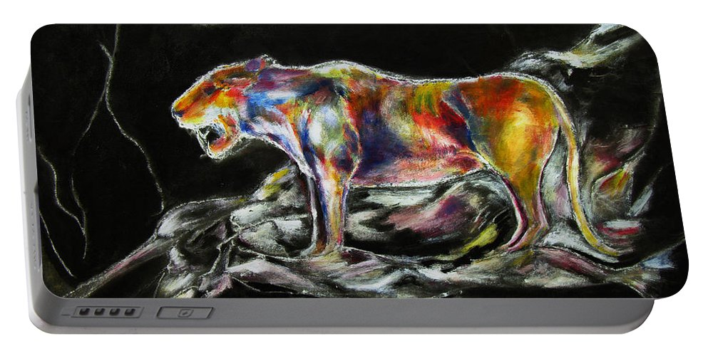 Animals Portable Battery Charger featuring the painting No Fear by Tom Conway
