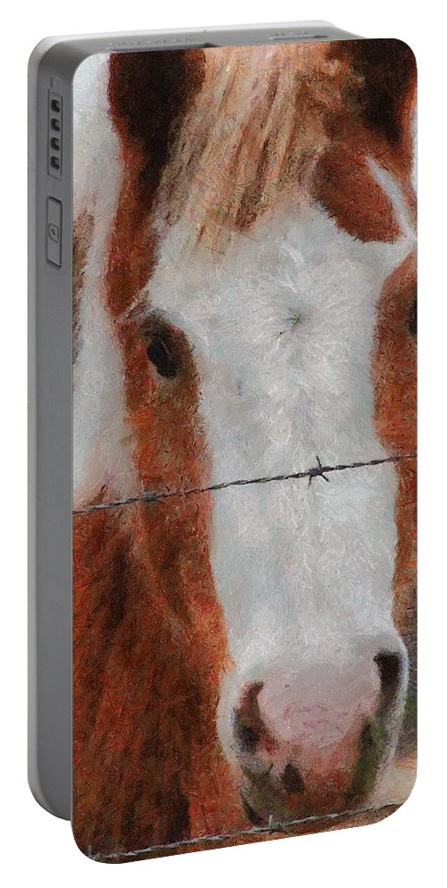 Barbed Wire Portable Battery Charger featuring the painting No Fences by Jeffrey Kolker