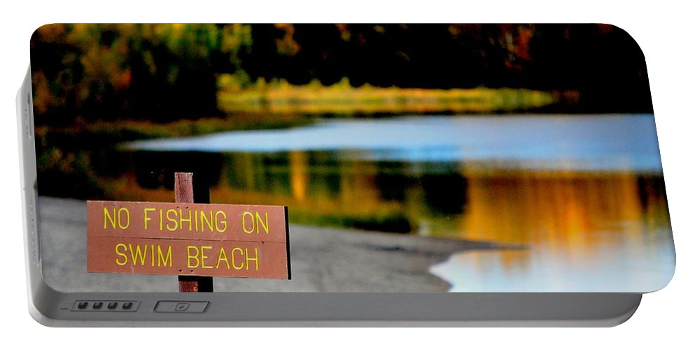Lake Portable Battery Charger featuring the photograph No Fishing I by Kathy Sampson
