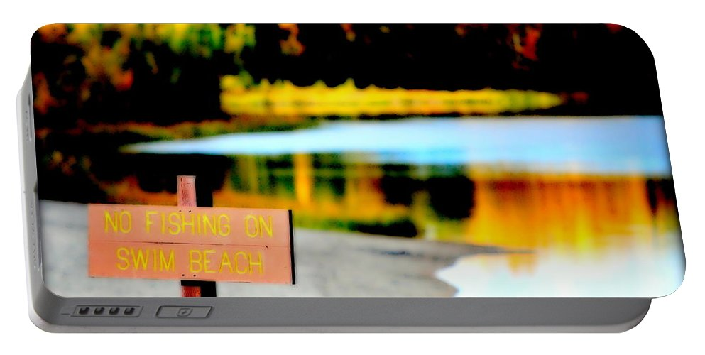Lake Portable Battery Charger featuring the photograph No Fishing On Swim Beach I by Kathy Sampson