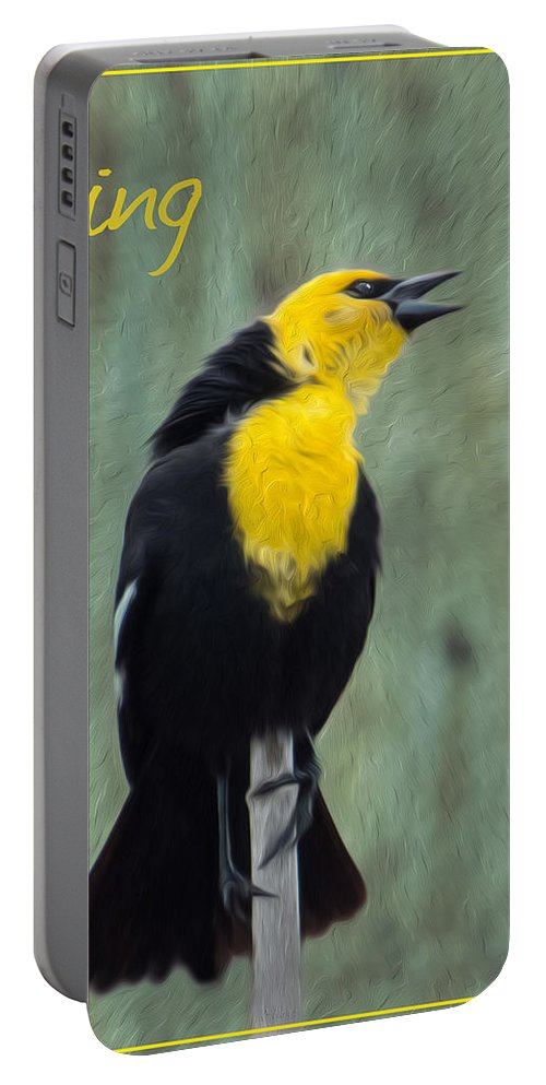 Yellow Portable Battery Charger featuring the photograph Yellow-headed Blackbird Singing by Patti Deters