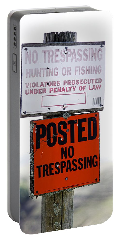 No Trespassing Portable Battery Charger featuring the photograph No Trespassing by Scott Hill