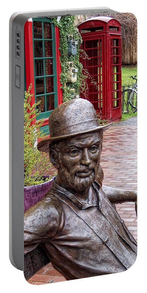 Statue Portable Battery Charger featuring the photograph No Umbrella by Donna Blackhall