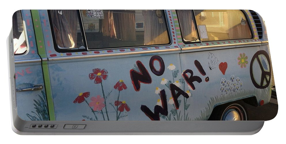 Peace Van Portable Battery Charger featuring the painting No War by Gerry High