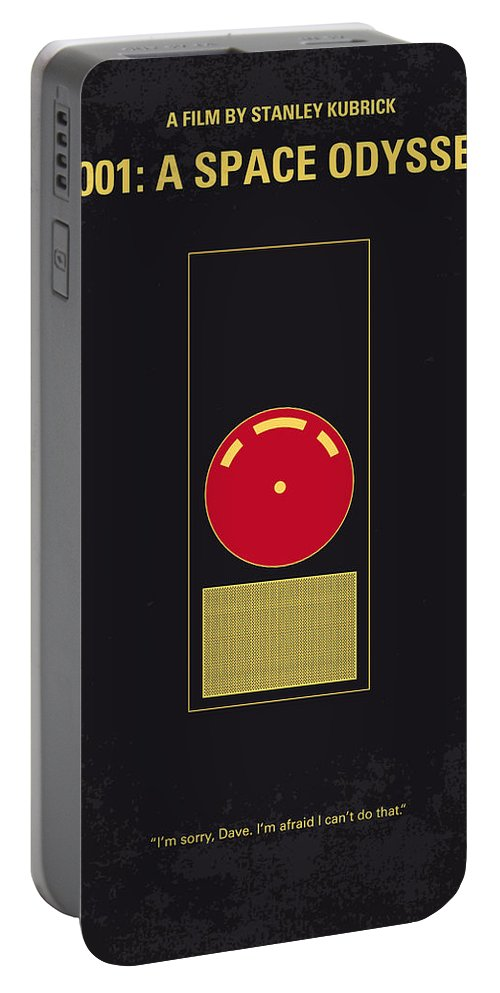 2001: A Space Odyssey Portable Battery Charger featuring the digital art No003 My 2001 A space odyssey 2000 minimal movie poster by Chungkong Art