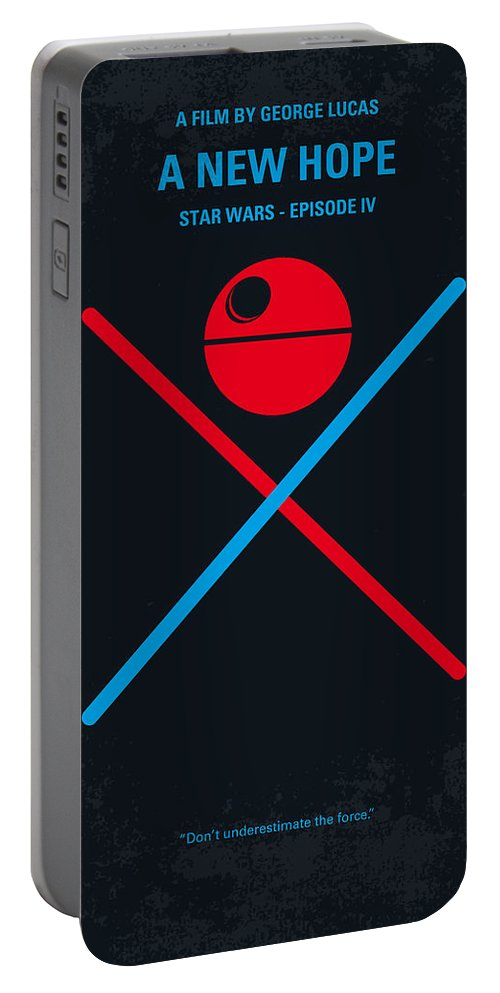 Star Portable Battery Charger featuring the digital art No154 My Star Wars Episode Iv A New Hope Minimal Movie Poster by Chungkong Art
