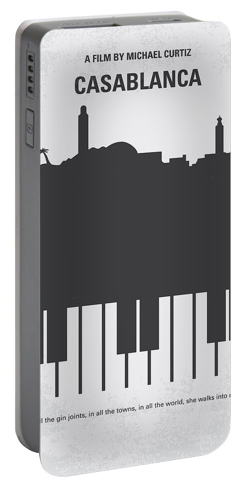 Casablanca Portable Battery Charger featuring the digital art No192 My Casablanca Minimal Movie Poster by Chungkong Art