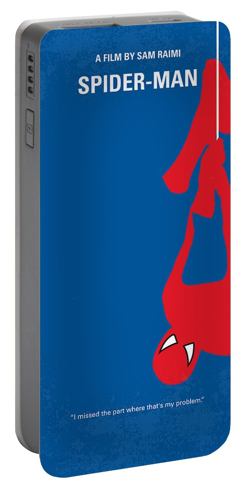 Spider-man Portable Battery Charger featuring the digital art No201 My Spiderman Minimal Movie Poster by Chungkong Art