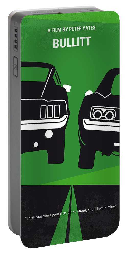 Frank Portable Battery Charger featuring the digital art No214 My BULLITT minimal movie poster by Chungkong Art