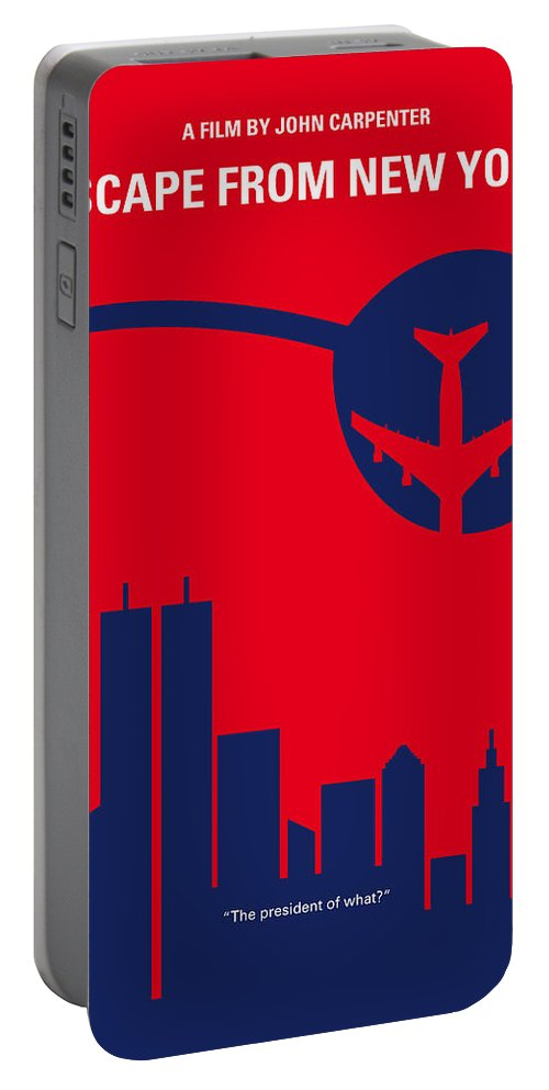 Escape Portable Battery Charger featuring the digital art No219 My Escape From New York Minimal Movie Poster by Chungkong Art