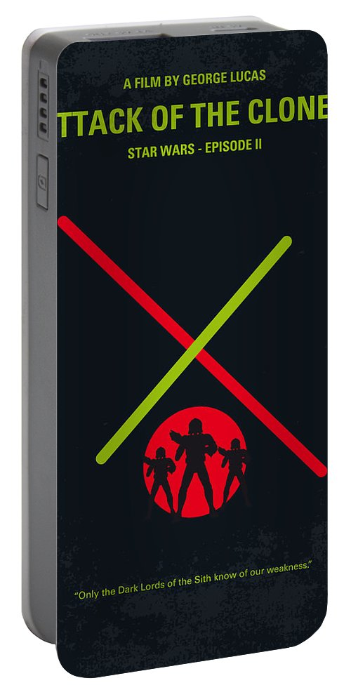 Star Portable Battery Charger featuring the digital art No224 My Star Wars Episode II Attack Of The Clones Minimal Movie Poster by Chungkong Art
