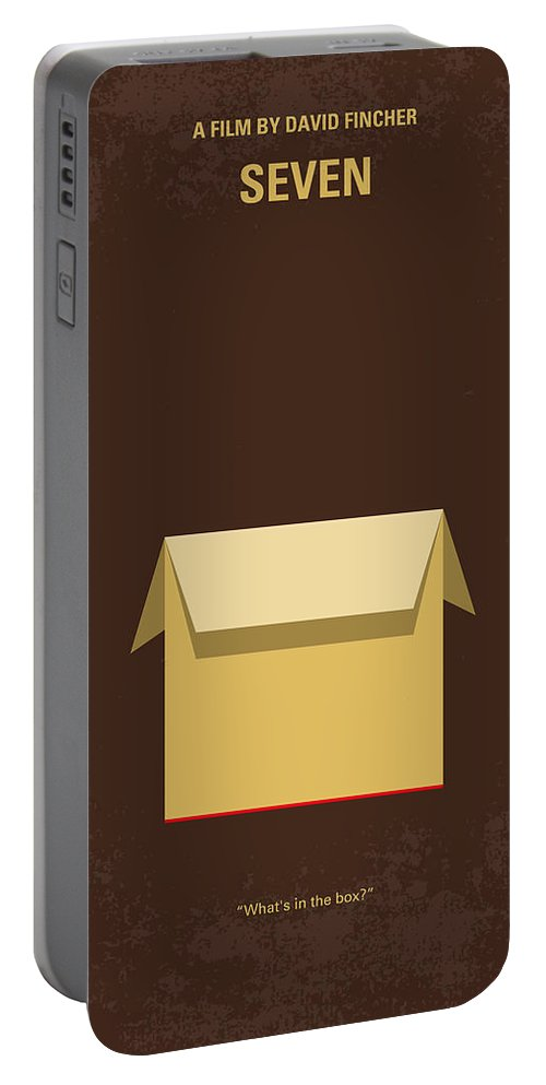 Seven Portable Battery Charger featuring the digital art No233 My Seven Minimal Movie Poster by Chungkong Art