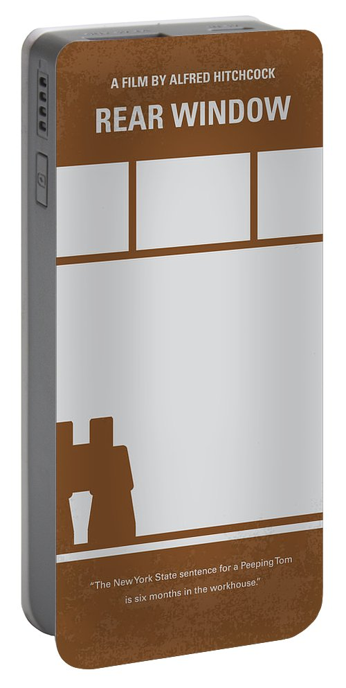 Rear Portable Battery Charger featuring the digital art No238 My Rear Window Minimal Movie Poster by Chungkong Art