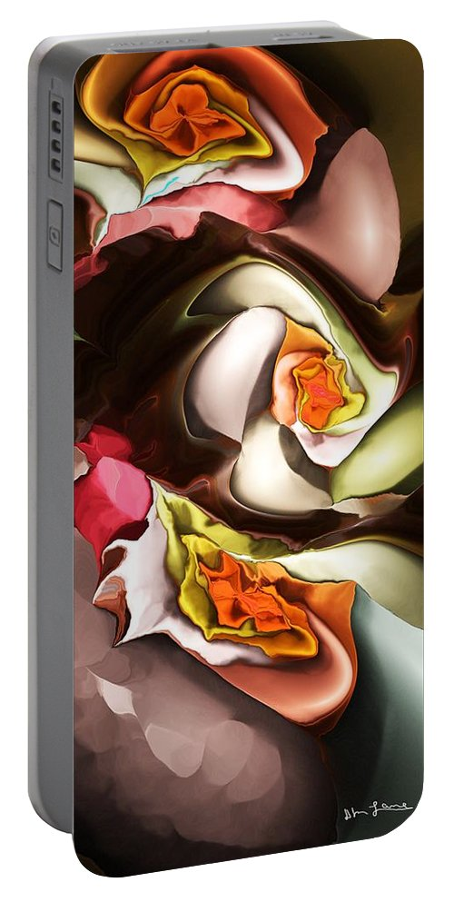 Fine Art Portable Battery Charger featuring the digital art Nocturnal Cacti Bloom  by David Lane