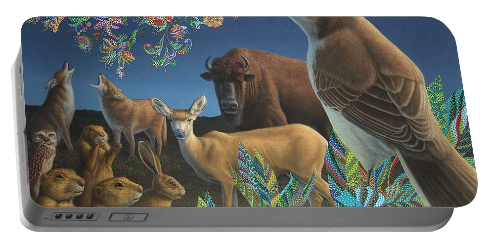 Mockingbird Portable Battery Charger featuring the painting Nocturnal Cantata by James W Johnson