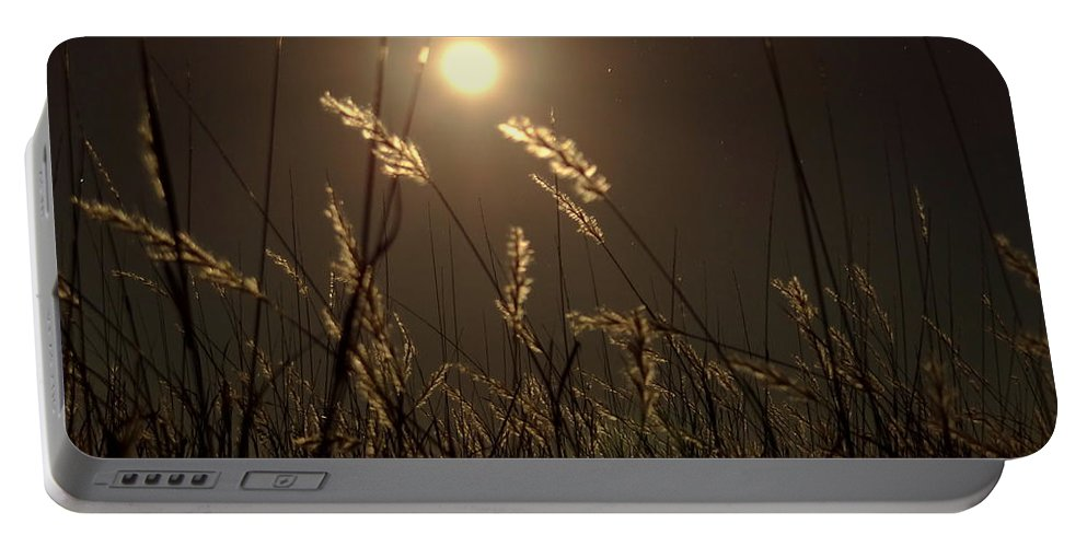 Night Portable Battery Charger featuring the photograph Nocturnal Glow by Onyx Armstrong