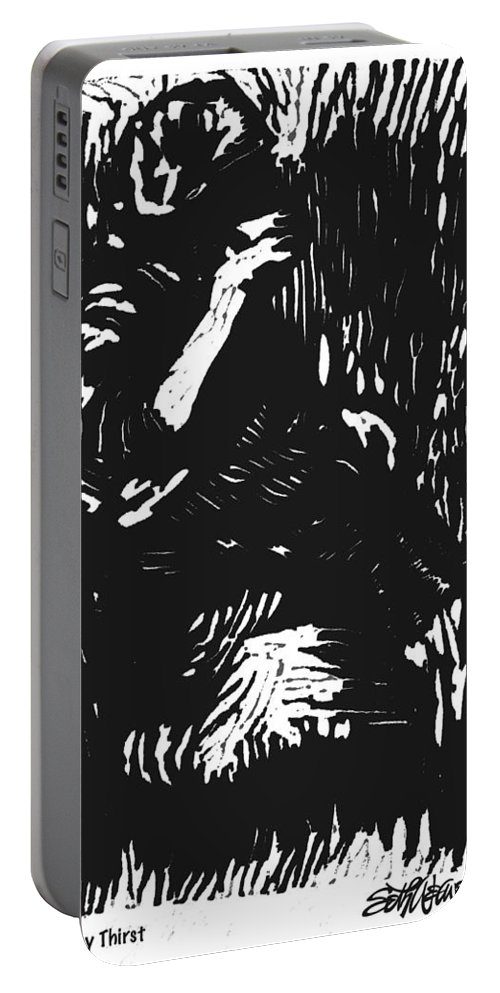 Old South Portable Battery Charger featuring the mixed media Noonday Thirst by Seth Weaver