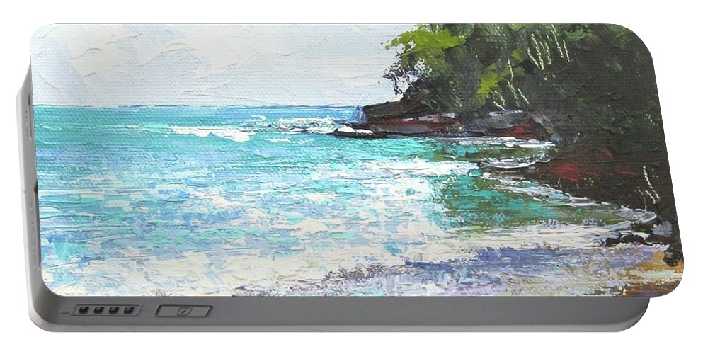 Seascape Portable Battery Charger featuring the painting Noosa Heads Main Beach Queensland Australia by Chris Hobel