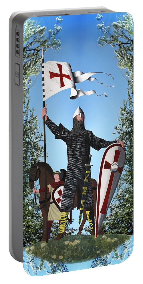 Norman Portable Battery Charger featuring the painting Norman Crusader by Neil Finnemore