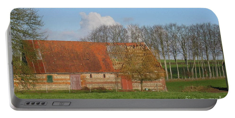 Normandy Storm Damaged Barn Portable Battery Charger featuring the photograph Normandy Storm Damaged Barn by HEVi FineArt
