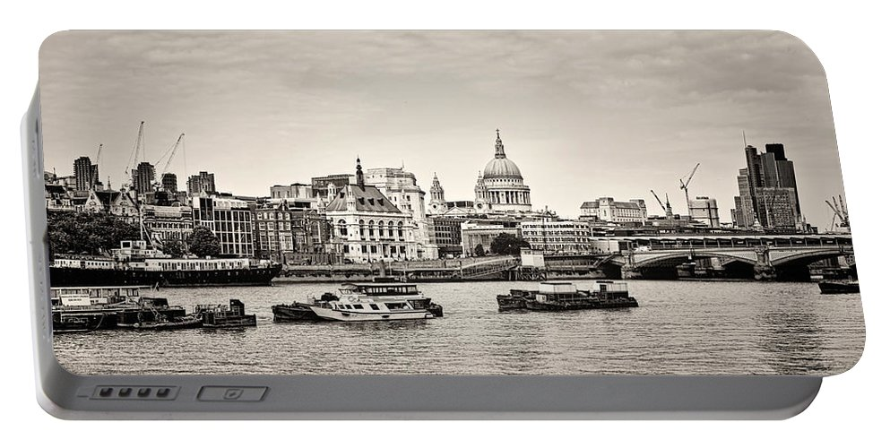 London Portable Battery Charger featuring the photograph North Side Of The Thames Bw by Heather Applegate