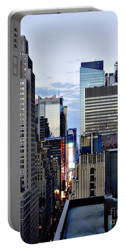 H&m Portable Battery Charger featuring the photograph North Up Seventh Avenue by Lilliana Mendez