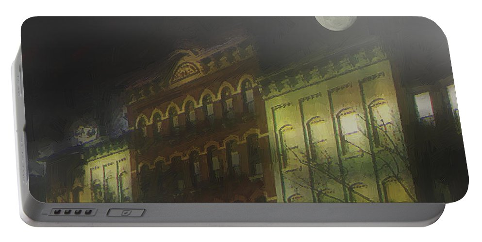 Cityscape Portable Battery Charger featuring the painting Northampton By Moonlight by RC DeWinter