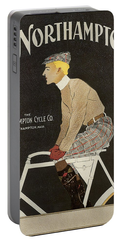 Edward Penfield Portable Battery Charger featuring the photograph Northampton Cycle 1899 by Edward Penfield
