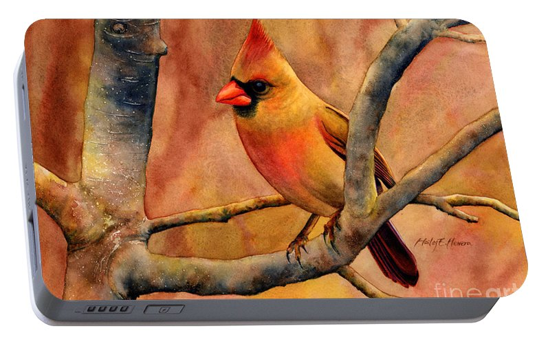 Cardinal Portable Battery Charger featuring the painting Northern Cardinal II by Hailey E Herrera