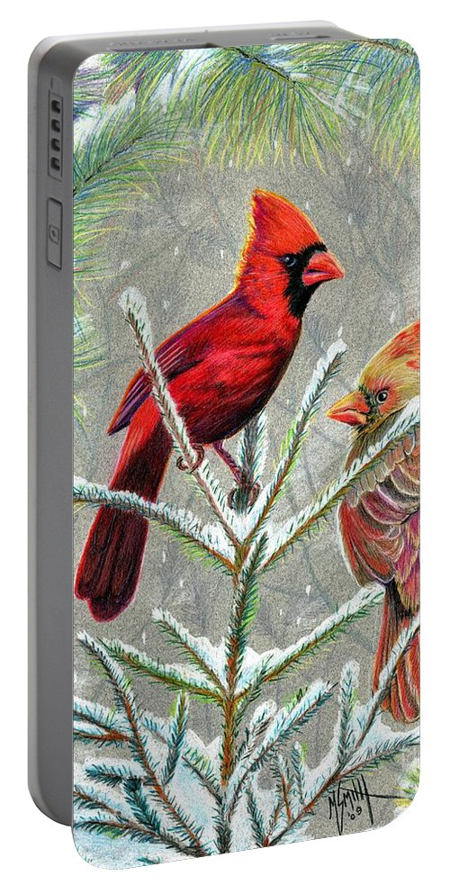 Red Birds Portable Battery Charger featuring the drawing Northern Cardinals by Marilyn Smith