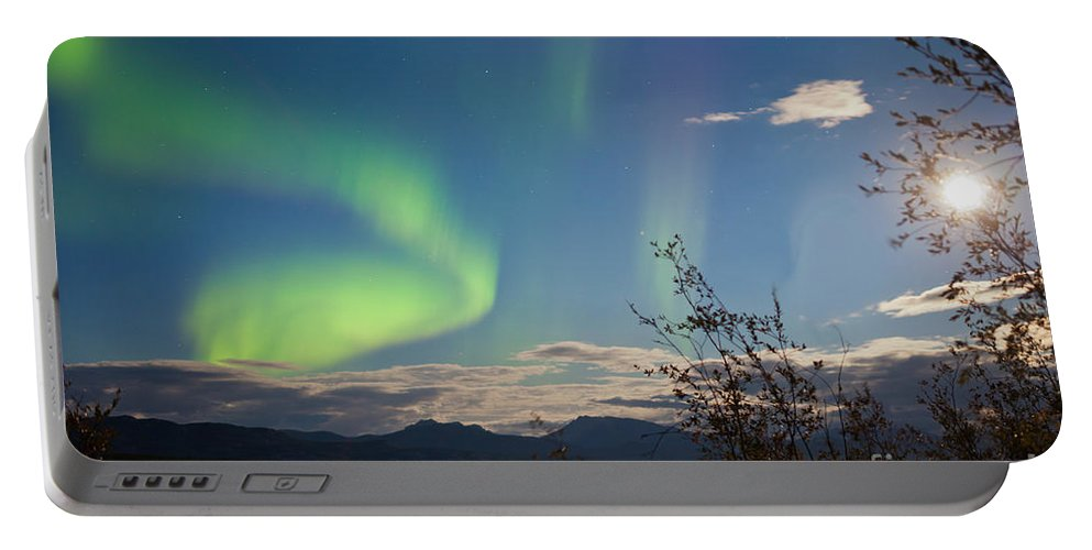 Astronomy Portable Battery Charger featuring the photograph Northern Lights Full Moon Over Lake Laberge Yukon by Stephan Pietzko